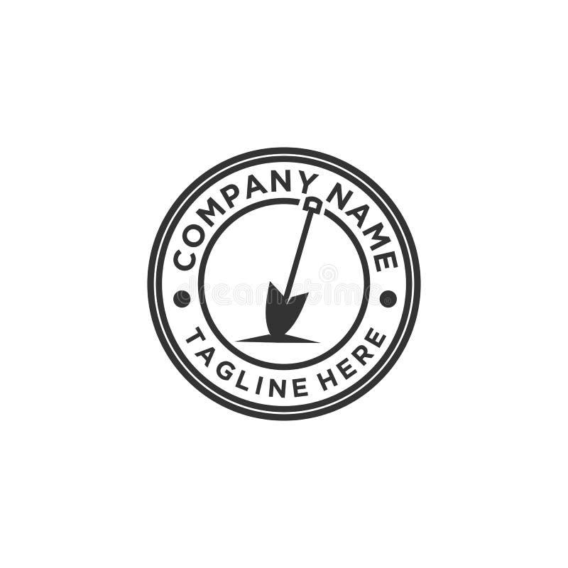 Projeto do logotipo da pá ou da pá ilustração do vetor
