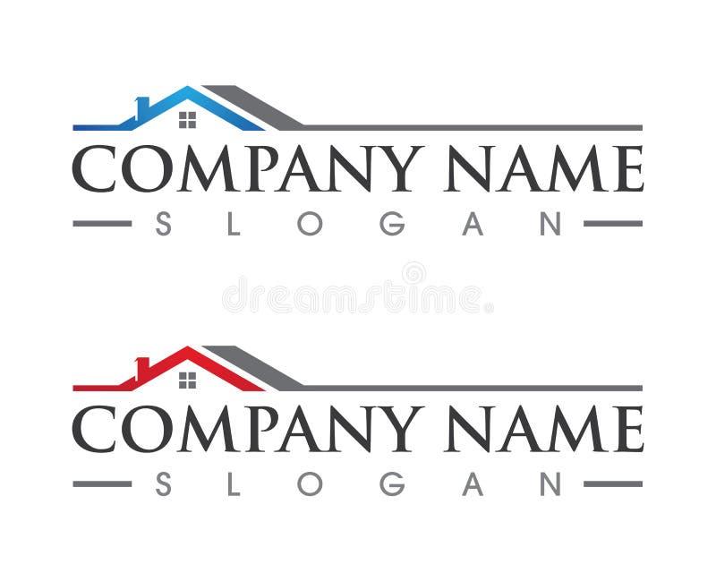Projeto do logotipo da propriedade e da construção ilustração royalty free