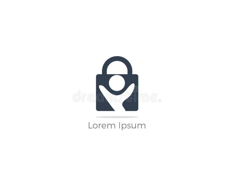 Projeto do logotipo da segurança dos povos Crianças e ícone do seguro da família Ilustração do cuidado e da proteção Povos no fec ilustração stock