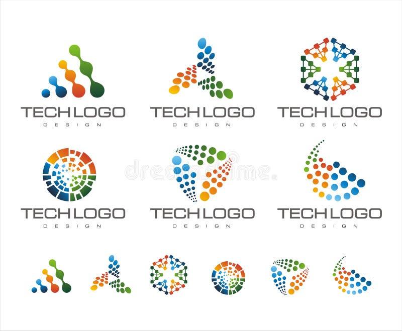 PROJETO DO LOGOTIPO DA TECNOLOGIA COM COR DO INCLINAÇÃO ilustração stock
