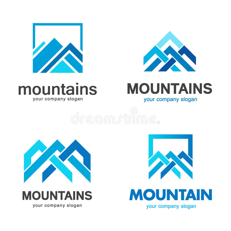 Projeto do logotipo das montanhas do vetor ilustração stock