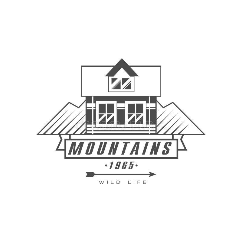 Projeto do logotipo das montanhas, vetor exterior do símbolo da aventura da exploração preto e branco superior da montanha do vin ilustração royalty free