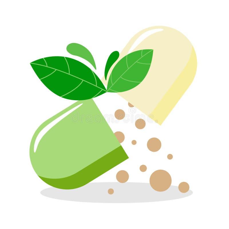 Projeto do logotipo de Nutraceuticals Projeto do vetor de Phytopreparations Isolar-farmácia ícone-médica dos ilustração-comprimid ilustração stock