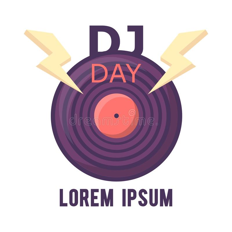 Projeto do logotipo do DJ, Dy do DJ do mundo Dia da música do mundo ilustração stock