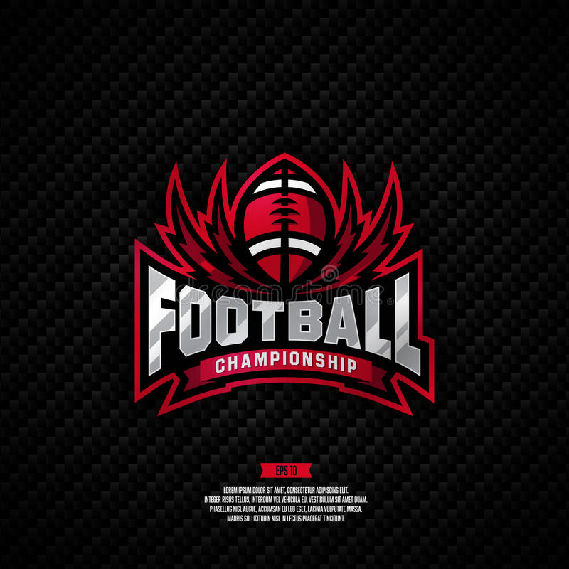 Projeto do logotipo do campeonato do futebol foto de stock royalty free