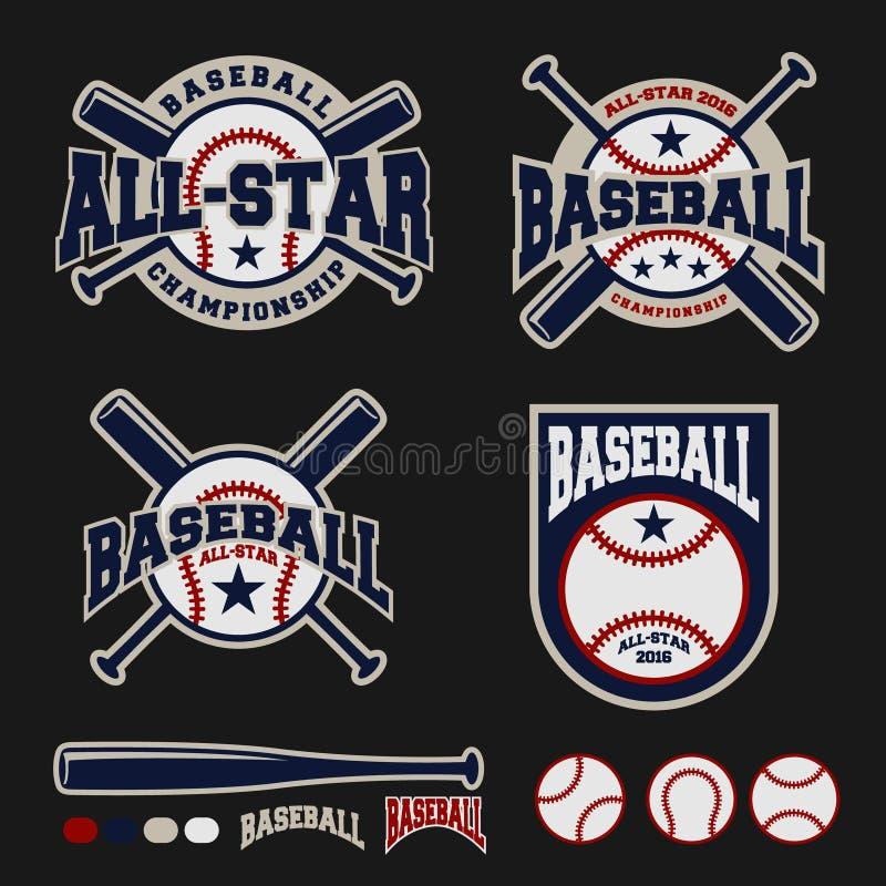 Projeto do logotipo do crachá do basebol para logotipos ilustração do vetor