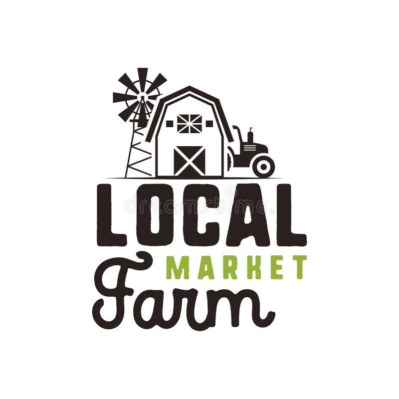 Projeto do logotipo do mercado da exploração agrícola e molde locais da etiqueta Símbolos incluídos do fazendeiro - trator, celei ilustração stock