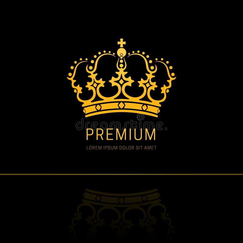 Projeto do logotipo do sumário da coroa do vintage ilustração stock