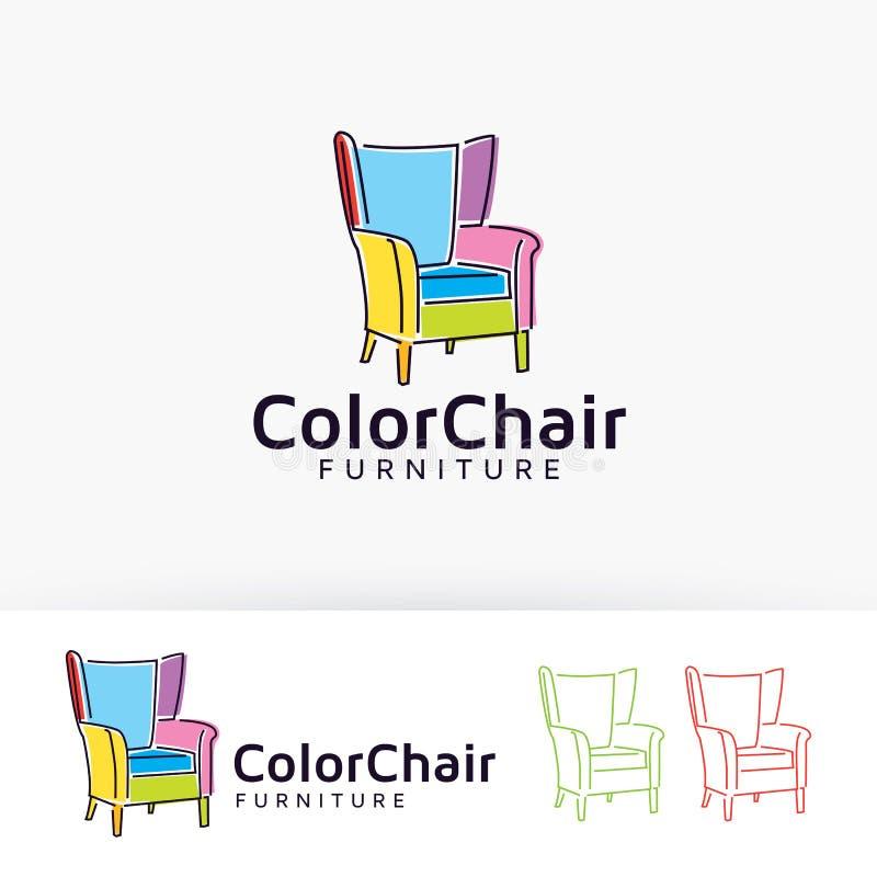 Projeto do logotipo do vetor da mobília da cadeira da cor ilustração do vetor