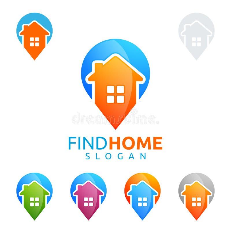 Projeto do logotipo do vetor dos bens imobiliários com casa e pino ilustração royalty free