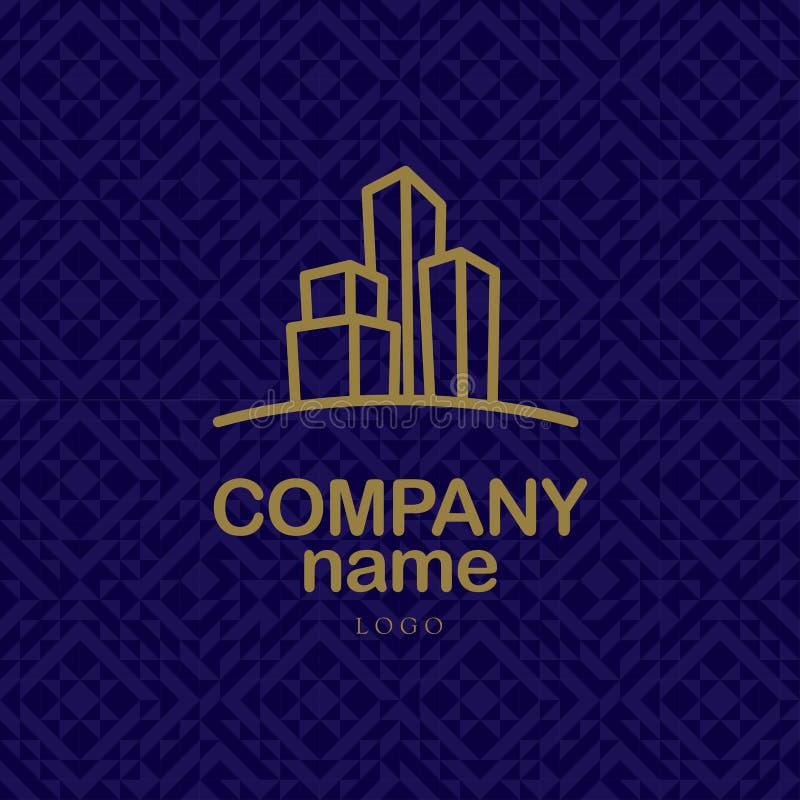 Projeto do logotipo do vetor para a empresa urbana da construção e o negócio industrial ilustração do vetor