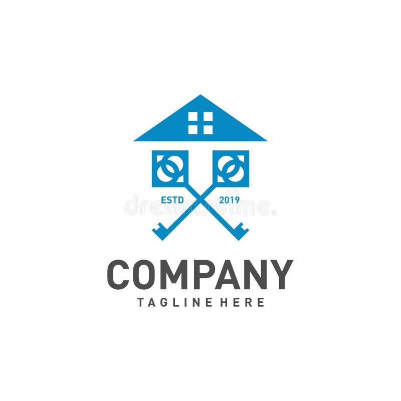 Projeto do logotipo dos bens imobiliários com casa e ilustração chave ilustração royalty free