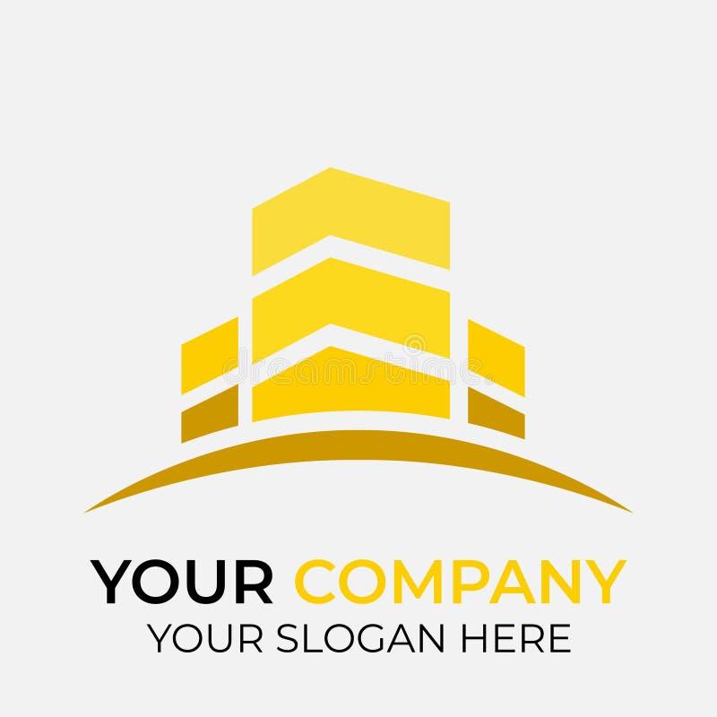 projeto do logotipo dos bens imobiliários com conceito moderno ilustração stock