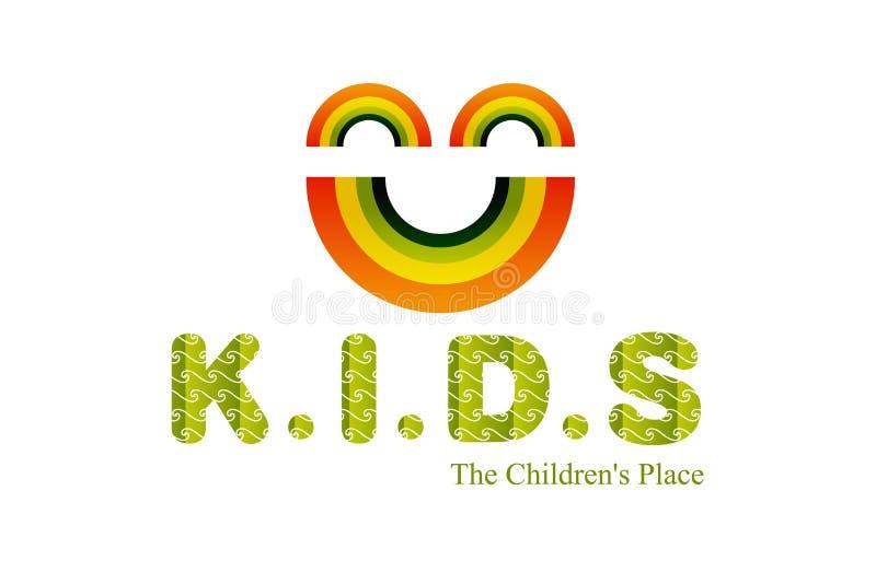 Projeto do logotipo dos miúdos ilustração stock