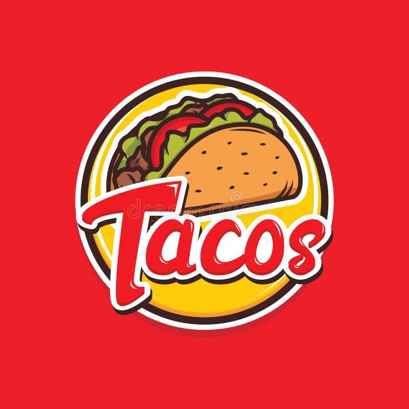 Projeto do logotipo dos tacos isolado no fundo vermelho ilustração stock