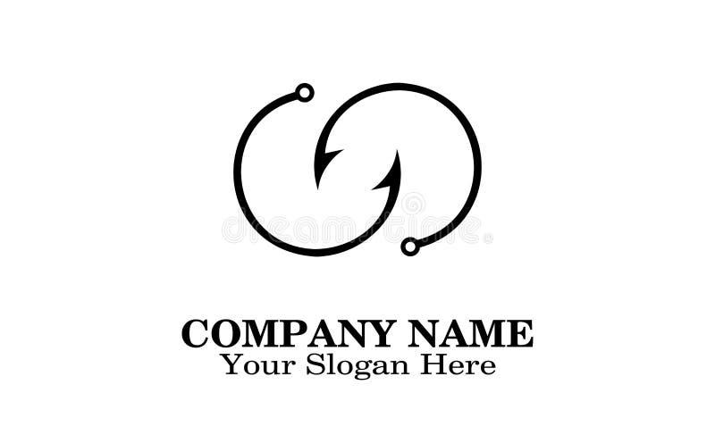 Projeto do logotipo do gancho de peixes ilustração stock