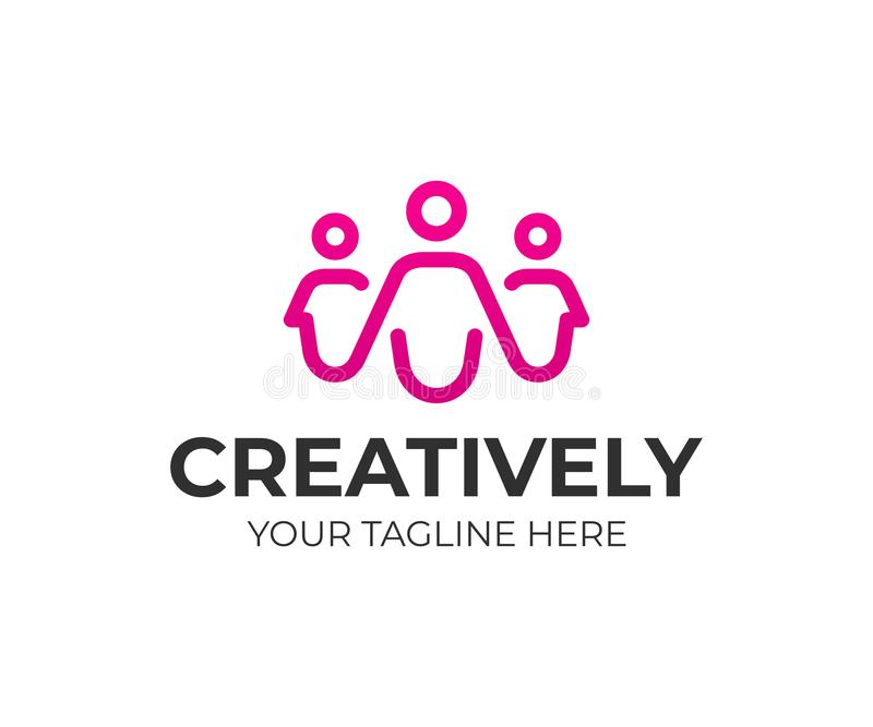 Projeto do logotipo do grupo de pessoas Projeto criativo do vetor dos povos ilustração stock