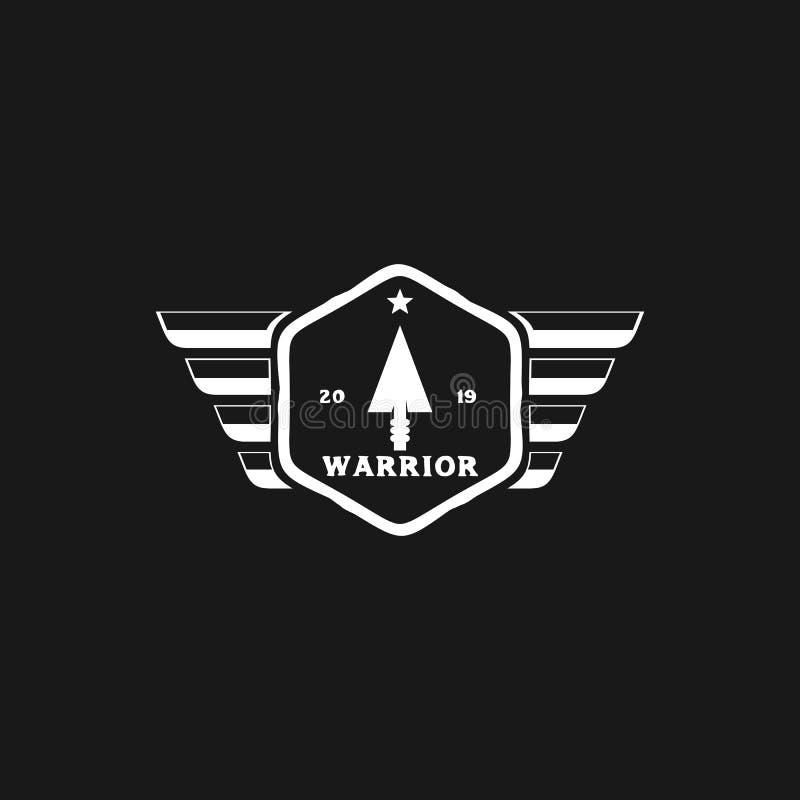 Projeto do logotipo do guerreiro com asas e ícone principal da seta ilustração royalty free