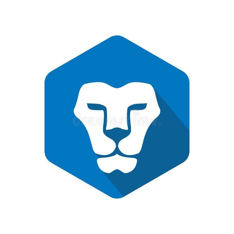 Projeto do logotipo do leão do polígono ilustração stock