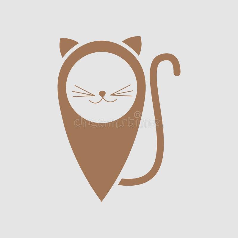 Projeto do logotipo do localizador do gato Ícone animal do lugar, projeto do emblema - ilustração do vetor Gato do animal de esti ilustração do vetor
