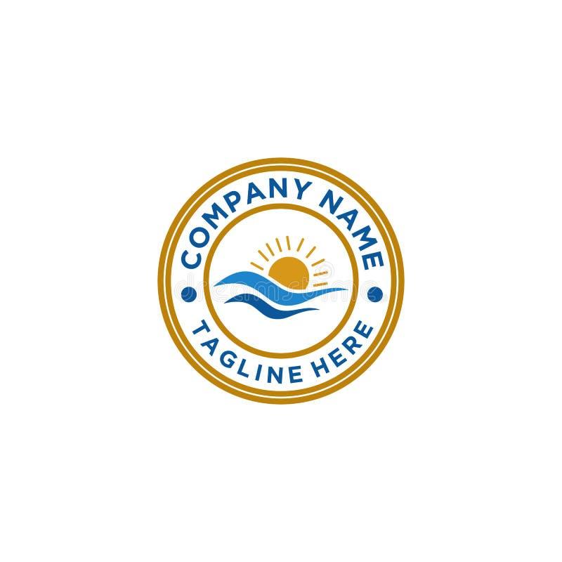 Projeto do logotipo do mar e do Sun ilustração stock