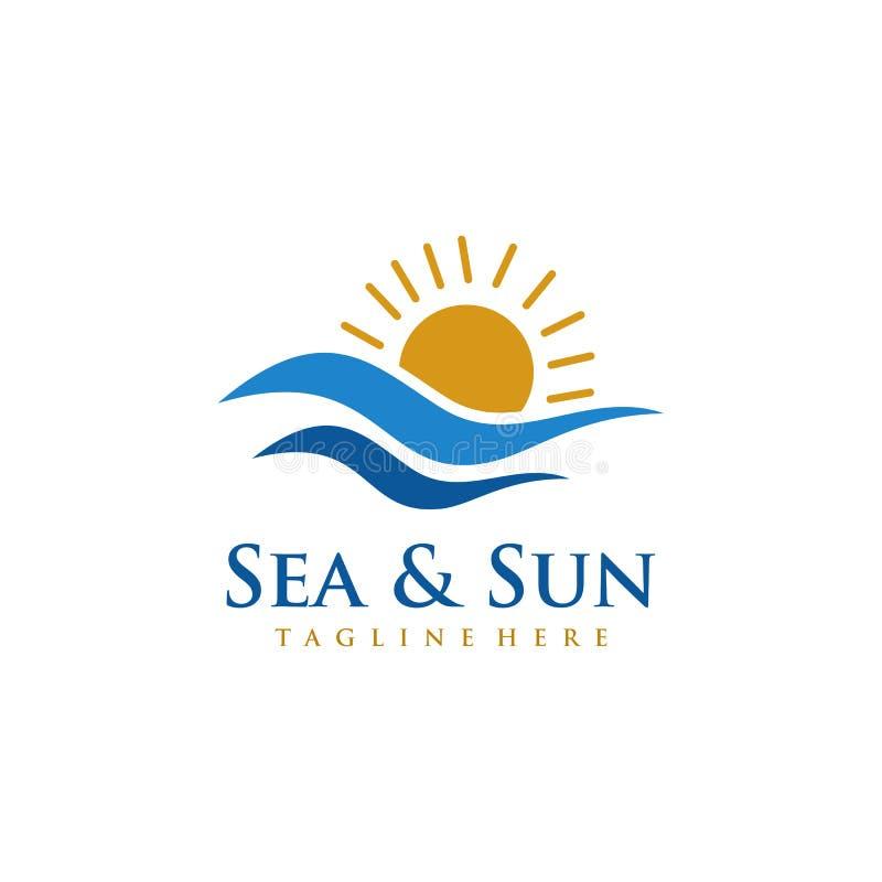 Projeto do logotipo do mar e do Sun ilustração royalty free