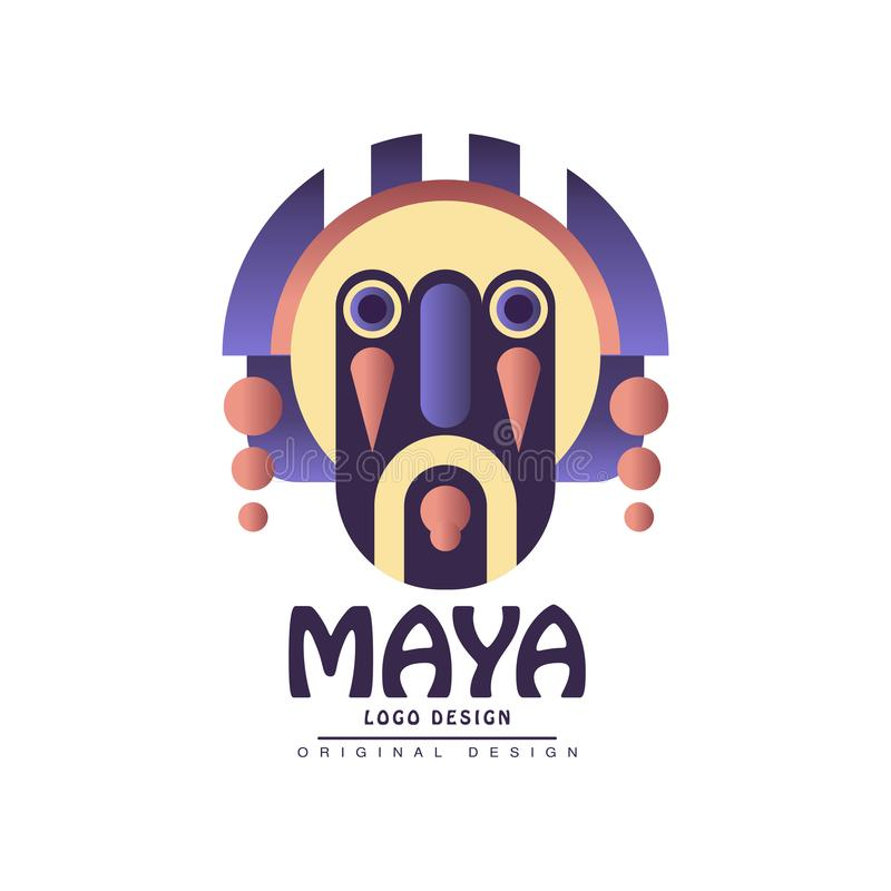 Projeto do logotipo do Maya, emblema com ilustração étnica do vetor da máscara em um fundo branco ilustração stock