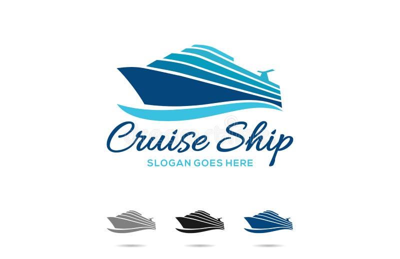 Projeto do logotipo do navio de cruzeiros do curso ilustração do vetor