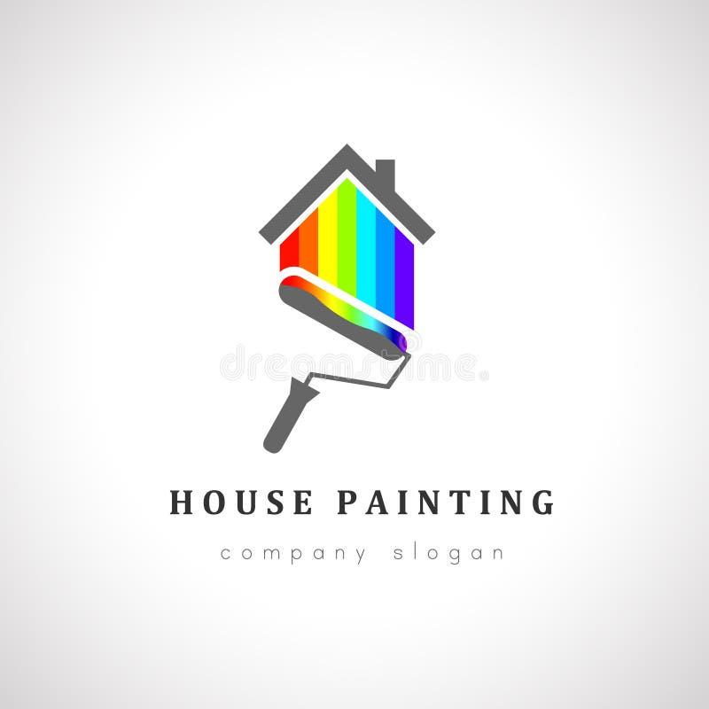 Projeto do logotipo do pintor de casa com rolo de pintura ilustração stock