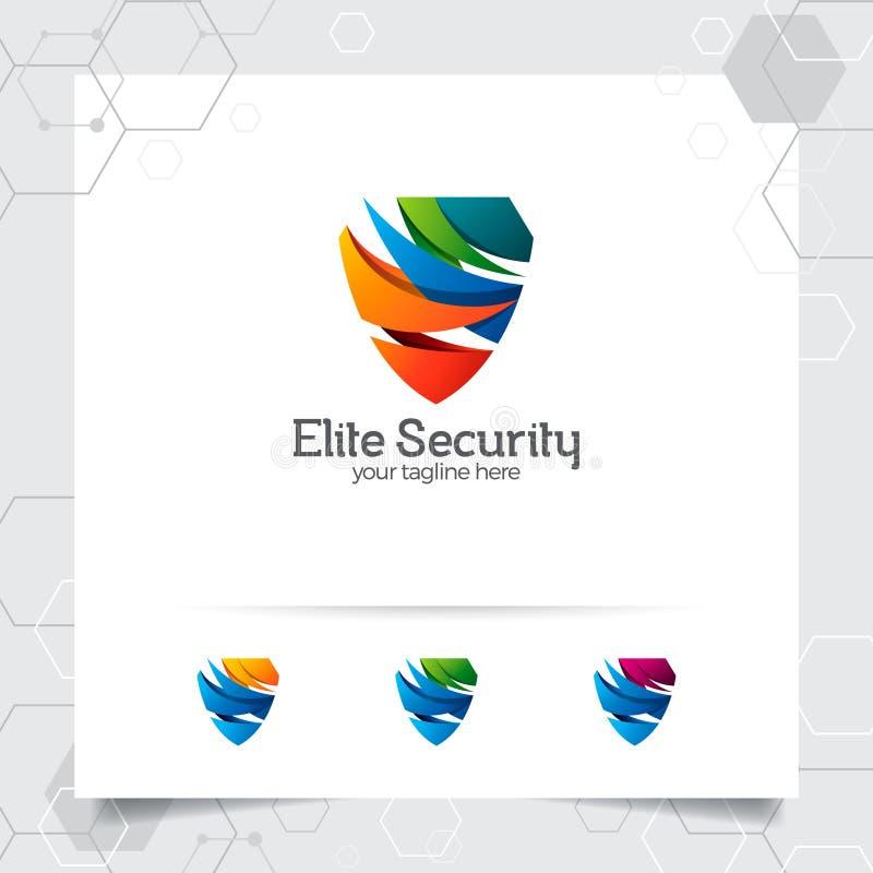 Projeto do logotipo do protetor da segurança com conceito do vetor do protetor da proteção e do ícone da tecnologia para a privac ilustração do vetor