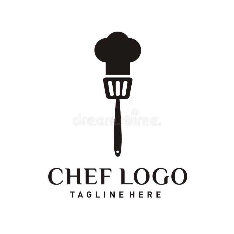 Projeto do logotipo do restaurante ou ícone do cozinheiro chefe ilustração stock
