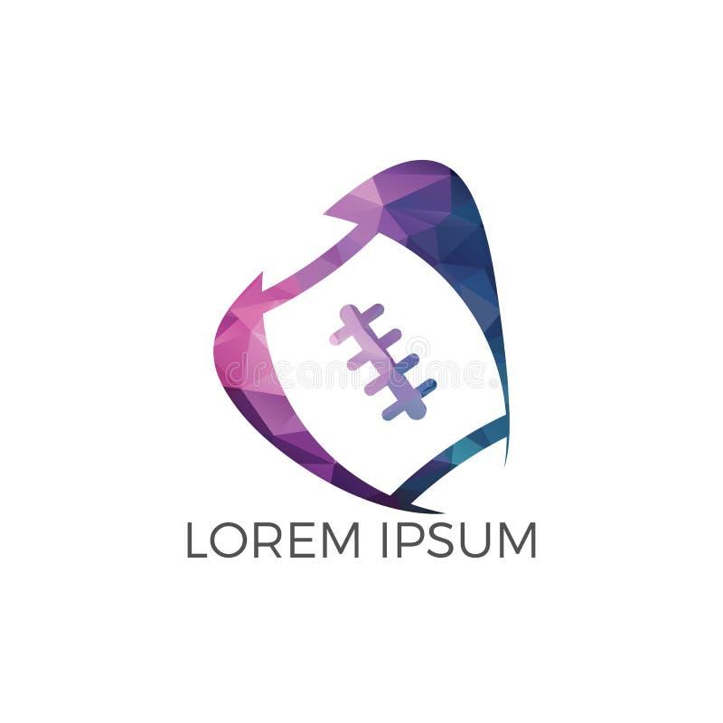 Projeto do logotipo do rugby ilustração royalty free