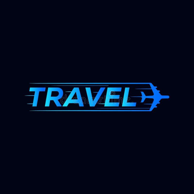 Projeto do logotipo do símbolo do curso com ícone do avião foto de stock royalty free