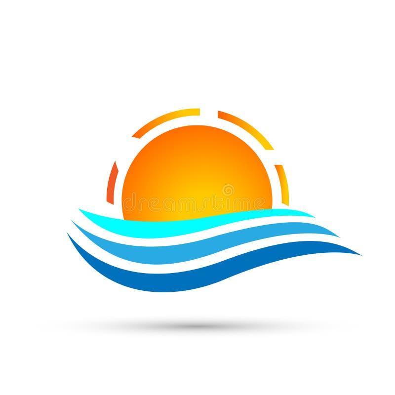 Projeto do logotipo do símbolo dos ícones do elemento do ícone do logotipo da onda do mar do globo de Sun no fundo branco ilustração stock