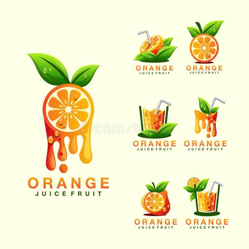 Projeto do logotipo do suco de laranja de modo operacional ilustração royalty free
