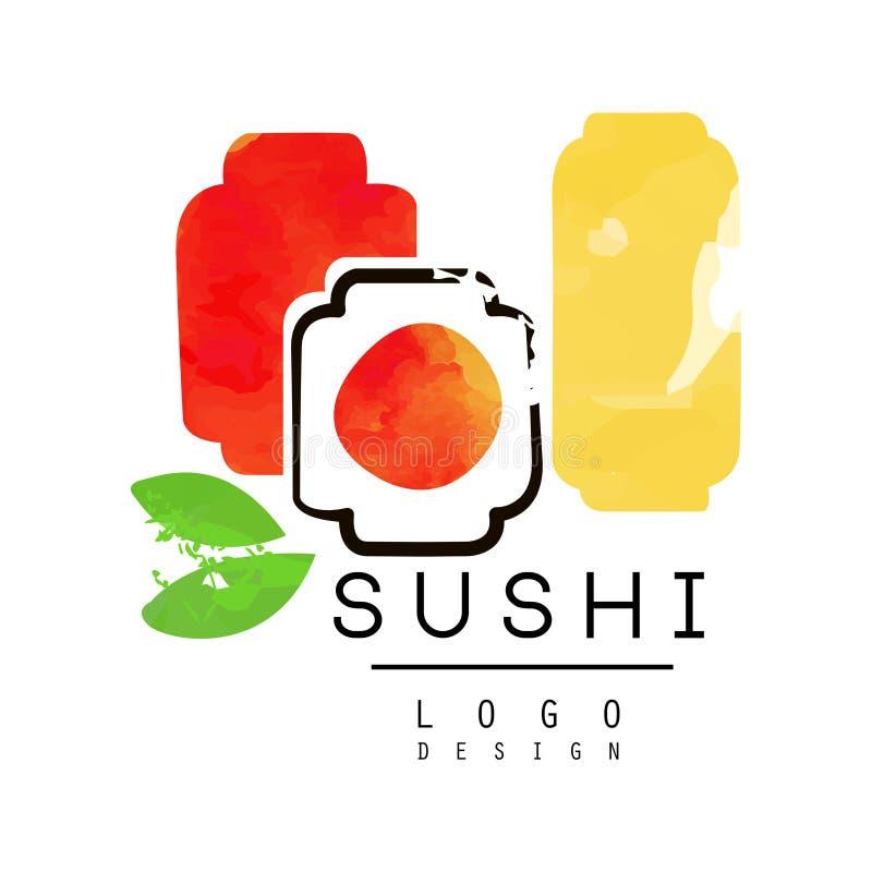 Projeto do logotipo do sushi, etiqueta japonesa do alimento, crachá para a barra de sushi ou ilustração do vetor da aquarela do r ilustração do vetor