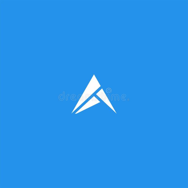 Projeto do logotipo do triângulo ou da letra A ilustração do vetor
