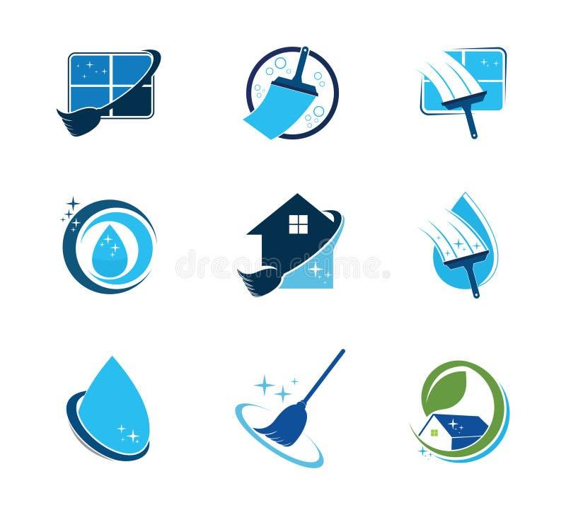 projeto do logotipo do vetor da empresa de serviços da limpeza da casa ilustração do vetor