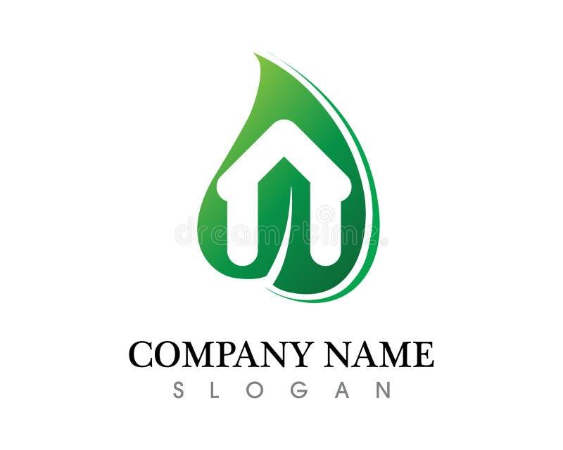 Projeto do logotipo do vetor da folha da árvore, conceito eco-amigável ilustração royalty free