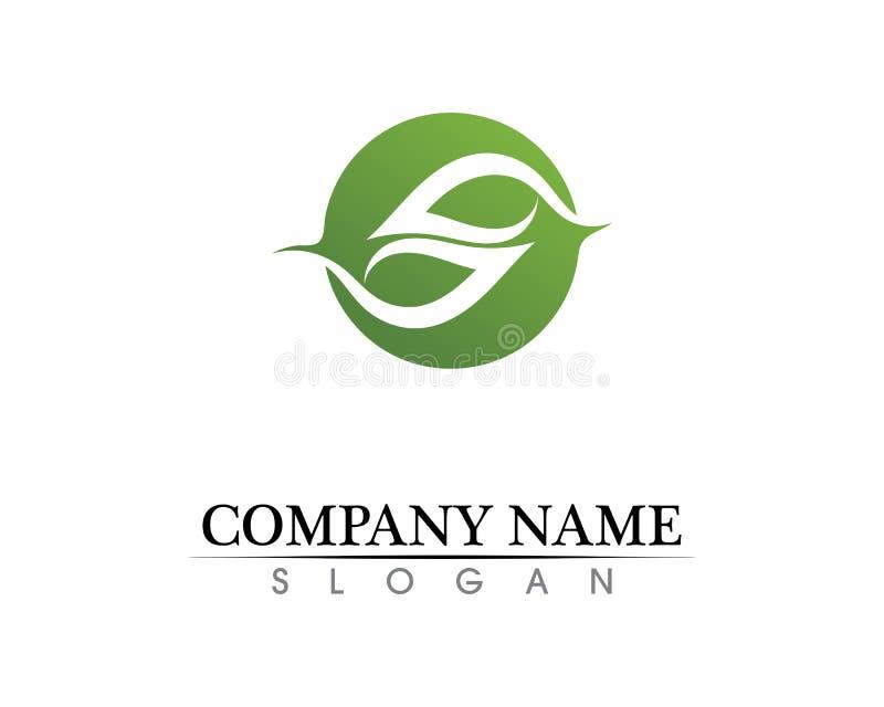 Projeto do logotipo do vetor da folha da árvore, conceito eco-amigável ilustração stock