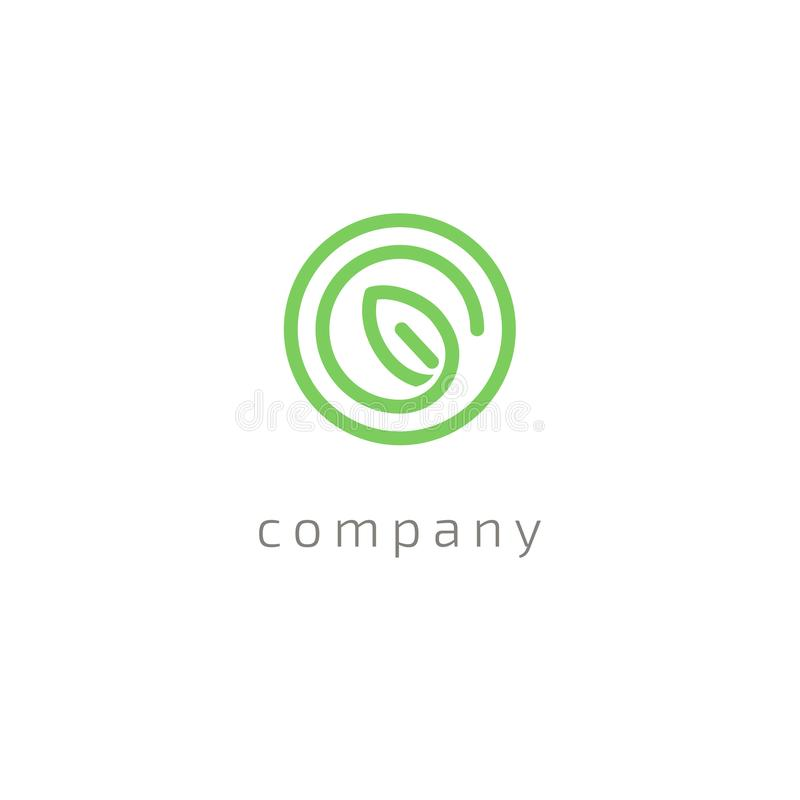 Projeto do logotipo do vetor da folha da árvore, conceito eco-amigável Projeto floral do logotipo da curva do vetor ilustração stock