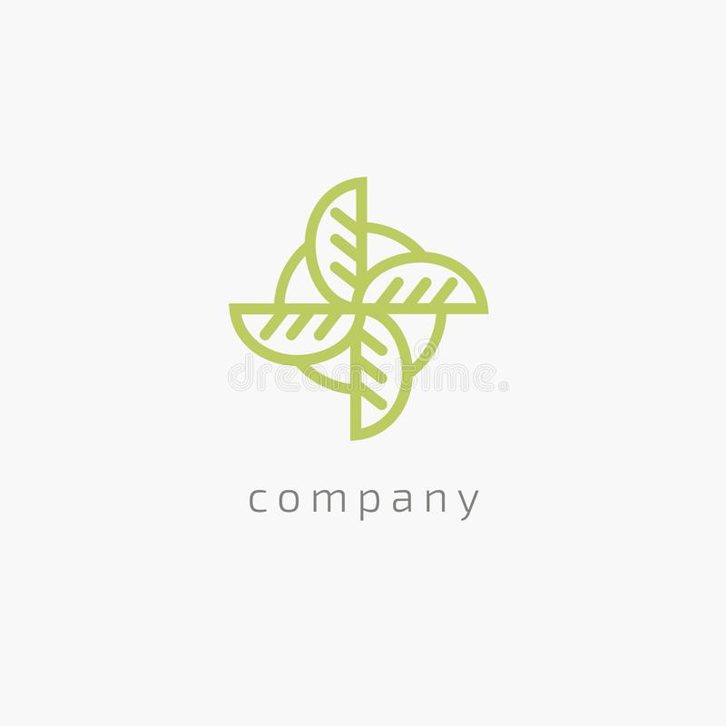 Projeto do logotipo do vetor da folha da árvore, conceito eco-amigável Projeto floral do logotipo da curva do vetor ilustração royalty free