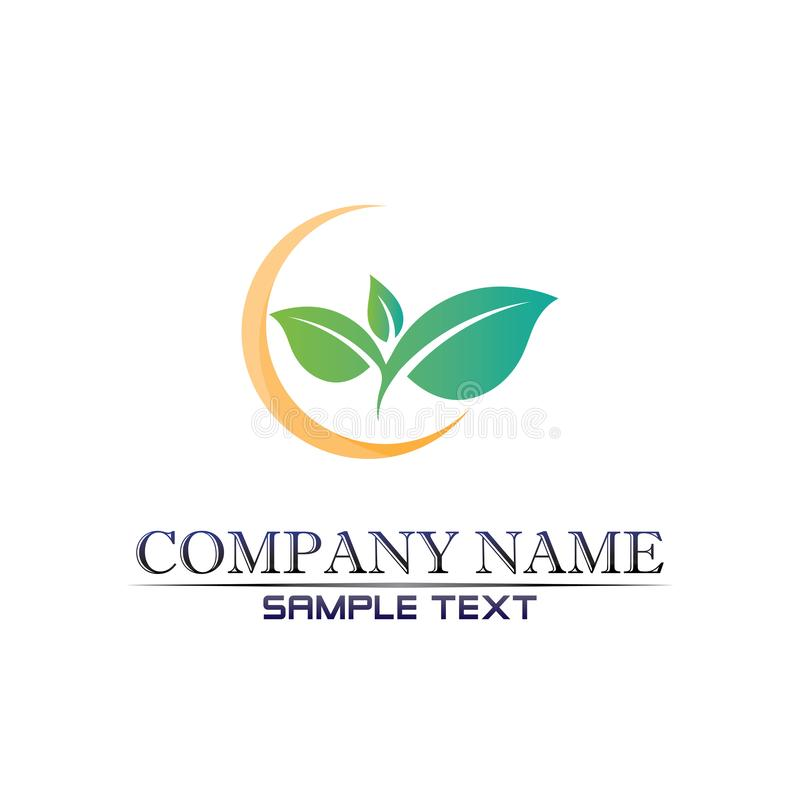 Projeto do logotipo do vetor da folha da ?rvore, conceito eco-amig?vel ilustração stock