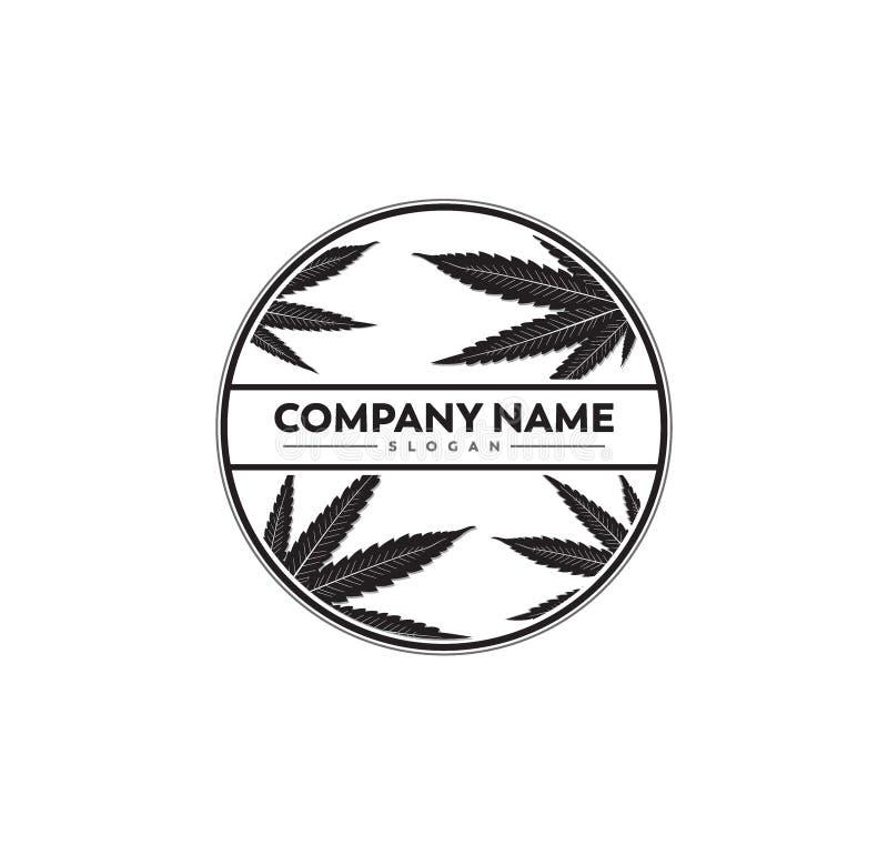 projeto do logotipo do vetor da ilustra??o da silhueta da folha da marijuana do cannabis ilustração stock