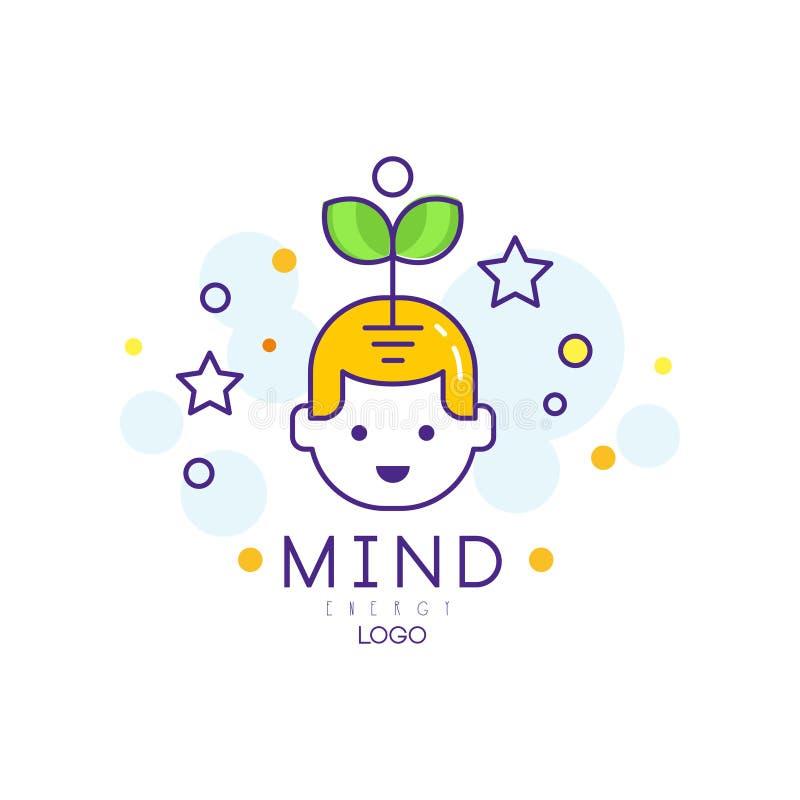 Projeto do logotipo do vetor do esboço com o broto que sai da cabeça da criança Energia da mente e conceito do crescimento Crianç ilustração do vetor