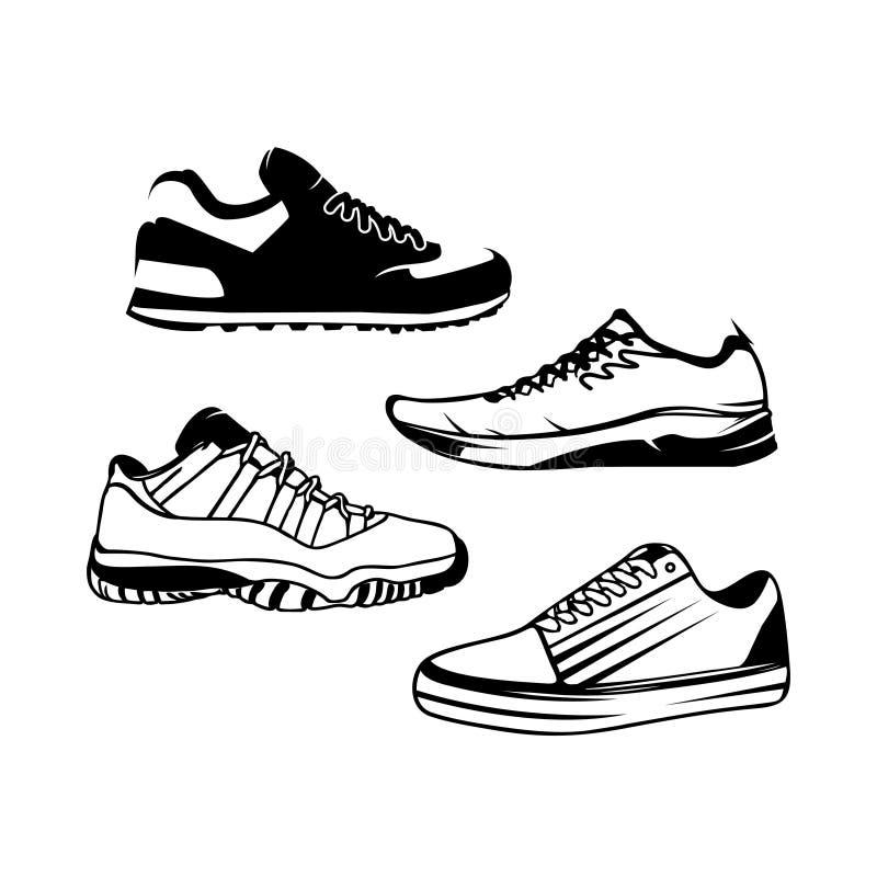 Projeto do logotipo do vetor para a loja de sapatas do homem Sapatas do homem isoladas no fundo branco ilustração stock