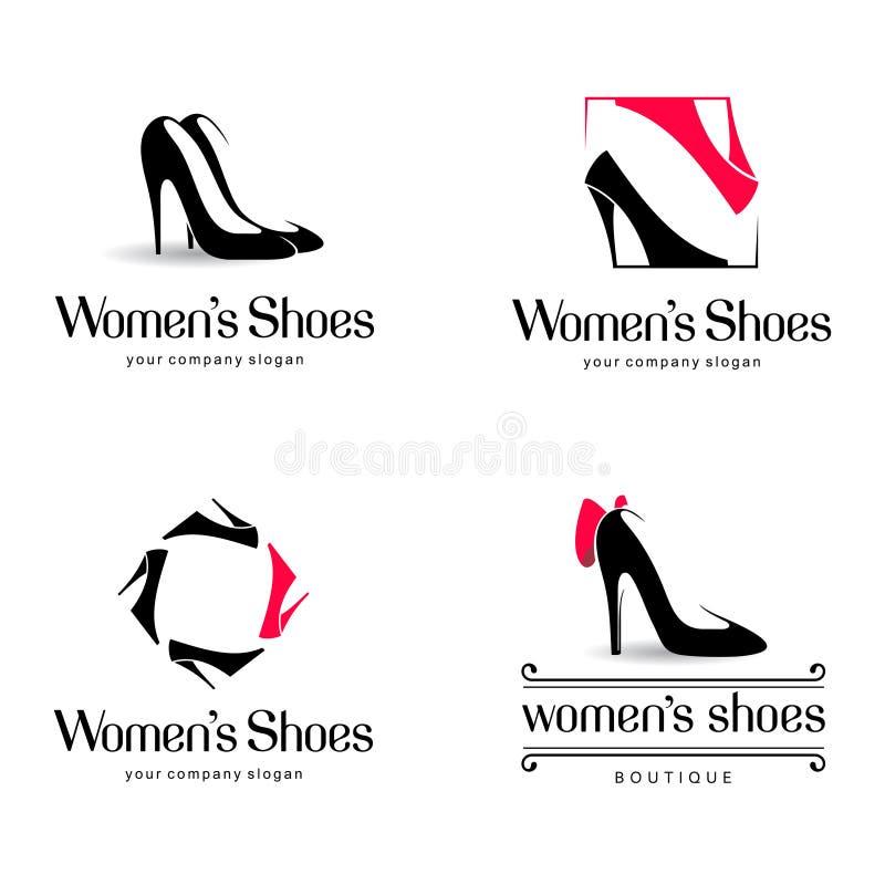 Projeto do logotipo do vetor para a loja de sapatas Sinal das sapatas das mulheres ilustração royalty free