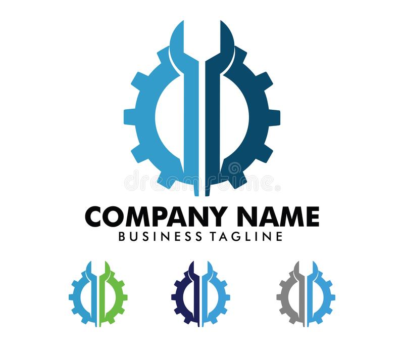 Projeto do logotipo do vetor para o negócio automotivo, indústria técnica, manutenção do carro, motor esperto da ideia, ilustração stock