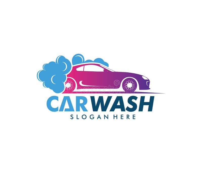 Projeto do logotipo do vetor do serviço da lavagem de carros, manutenção da lavagem de carros ilustração royalty free