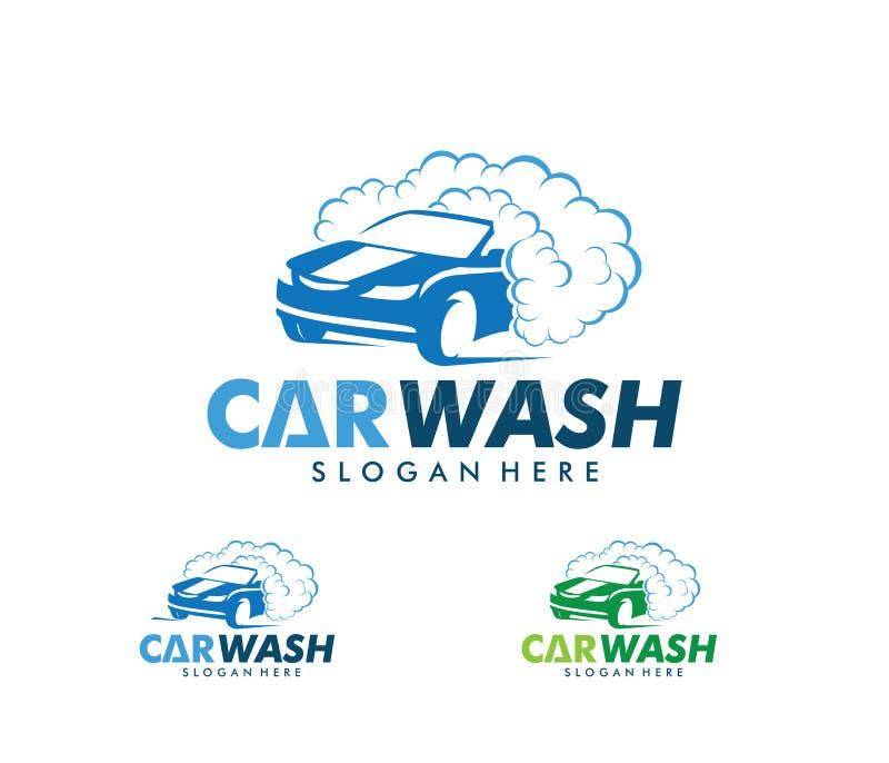 Projeto do logotipo do vetor do serviço da lavagem de carros, manutenção da lavagem de carros ilustração stock